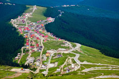 Aerial view of Ranca town in Parang mountains Royalty Free Stock Image