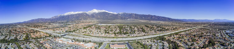 Aerial view of Rancho Cucamonga area. Aerial view of Mount Baldy and Rancho Cucamonga area Royalty Free Stock Images