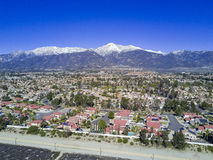 Aerial view of Rancho Cucamonga. Aerial view of Mount Baldy and Rancho Cucamonga area Stock Photo