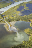 Aerial view of the rapadalen river valley with stunning colorati Royalty Free Stock Photo