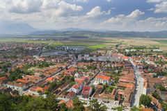Aerial view of Rasnov city. Cityscape of Rasnov from the medieval citadel Stock Images