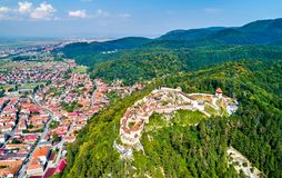 Aerial view of Rasnov Fortress in Romania royalty free stock images
