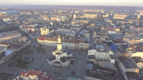 Aerial view of Ratusha in Ivano-Frankivsk, Ukraine, main benchmark of city.  stock footage