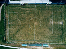 Aerial view of real soccer pitch, football field drone pov Stock Photos