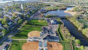 Aerial View of Recreational Fields Baseball stock video