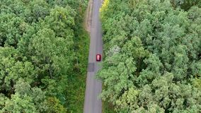 Aerial view of red car driving on country road in forest. stock video footage