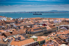 Aerial view of red roofs of Alfama and the River Tagus, Lisbon, Royalty Free Stock Image