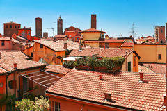 Aerial view of red roofs in Bologna Royalty Free Stock Photography