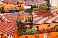 Aerial view of red roofs in Bologna Stock Photography
