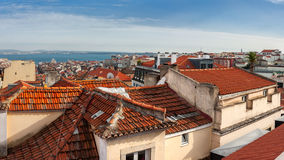 Aerial view of red roofs in Lisbon, Portugal Stock Images
