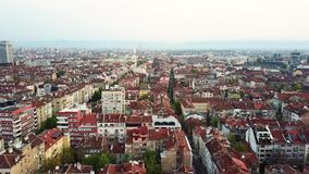 Aerial view of Red roofs of Sofia in Bulgaria stock video