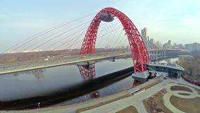 Aerial view on Red suspension bridge, Moscow stock footage