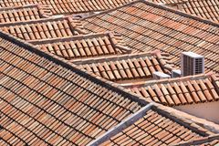 Aerial view of red tile roofs Stock Photography