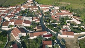 Aerial View Red Tiled Roofs Typical Village stock footage