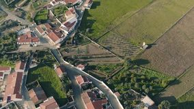 Aerial View Red Tiled Roofs Typical Village stock video