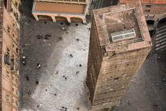 Aerial view of red tiled rooftops and ancient Due Torri towers in historical center of Bologna Royalty Free Stock Photos