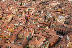 Aerial view of red tiled rooftops and ancient towers in historical center of Bologna Stock Photo