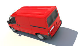 Aerial view of red van vector illustration