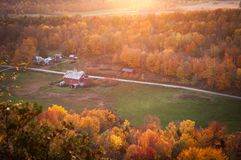 Aerial View of Red and White Painted Barn Near Green Grass Yard Stock Photos