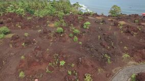 Aerial view of reddish frozen lava soil on tropical island. Ternate, Indonesia, tilt up. Shot with drone on cloudy day with blue sky stock footage