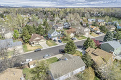 Aerial view of redintial street in Fort Collins, Colorado Stock Photography