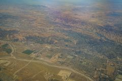 Aerial view of Redlands, view from window seat in an airplane. At California, U.S.A royalty free stock image