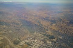 Aerial view of Redlands, view from window seat in an airplane. At California, U.S.A stock photography