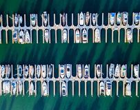 Aerial view of Redwood City port. Boats in Port of Redwood City in California Stock Photography