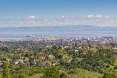 Aerial view of Redwood City, Silicon Valley, San Francisco bay, California royalty free stock photos