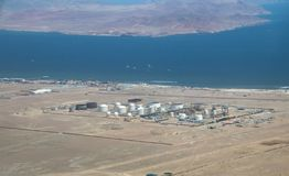 Aerial View of a Refinery. Aerial view of the Refinery not far from Paracas, Peru stock images