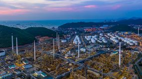 Aerial view refinery plant factory at twilight.  stock photos