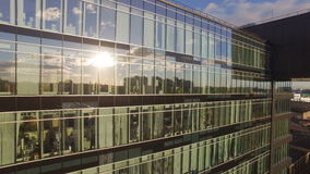 Aerial view of reflections in Windows stock video footage
