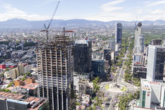 Aerial view of reforma street in mexico city. Building beeing constructed on reforma avenue Stock Photo
