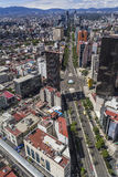 Aerial view of reforma street in mexico city. Intersection of reforma and hidalgo avenues, skulpture of the little horse Royalty Free Stock Images