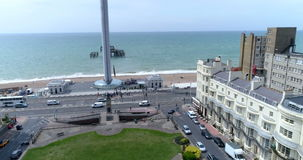 Aerial view of a regency square in Brighton and Hove approaching the sea and the west pier