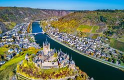 Aerial view of Reichsburg Cochem, a famous castle in Germany. Aerial view of Reichsburg Cochem, a famous castle in Rhineland-Palatinate, Germany stock image