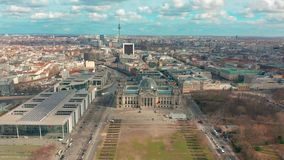 Aerial view of Reichstag in Berlin 4K.  stock footage