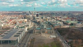 Berlin, Germany - March 28, 2019. Aerial view. Reichstag in Berlin 4K. Aerial view. Reichstag in Berlin 4K stock video footage