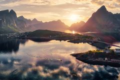 Aerial view of Reine with mountains royalty free stock photos