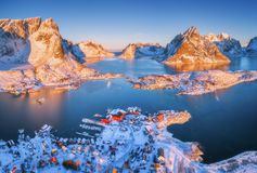 Aerial view of Reine at sunrise in winter in Norway. Top view Stock Images