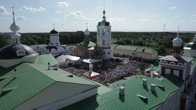 Aerial view of religious holiday stock video