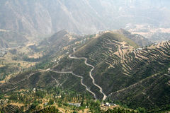 Aerial view of remote region in himachal India. Birds eye view of remote himalayan region in  chamba district himachal pradesh India Royalty Free Stock Image