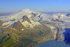 Aerial View of a Remote Volcano and Glacier in Alaska Royalty Free Stock Photo