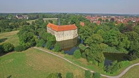 Aerial view of the Renaissance Castle in Luedinghausen, Germany stock footage