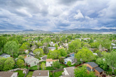 Aerial view of resdential area and foothills Royalty Free Stock Photos