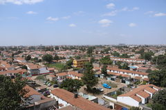 Aerial view of a reseidential area in nairobi. An aerial view of a section of an estate in Nairobi with brown tiled modern houses on a clear sky day Stock Images