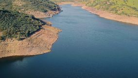 Aerial View Reservoir near Dam stock video footage