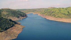 Aerial View Reservoir near Dam stock video