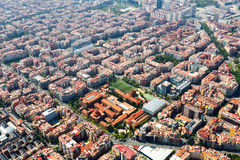 Aerial view  of  residence districts in  Barcelona Royalty Free Stock Photography