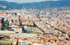 Aerial view  of  residence districts in european city. Barcelona Royalty Free Stock Images